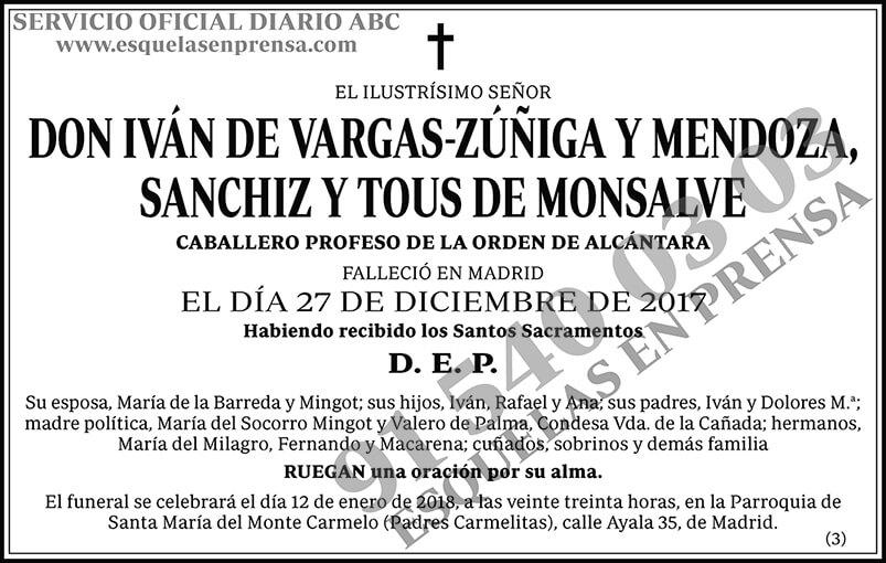 Iván de Vargas-Zúñiga y Mendoza, Sanchiz y Tous de Monsalve